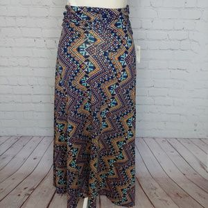 LuLaRoe Blue Orange Aztec Maxi Skirt XXS NWT